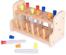 Изследователски епруветки - Детски комплект за игра с дървена поставка - играчка