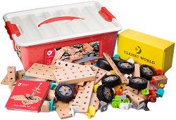 Детски дървен конструктор - 218 части - творчески комплект