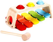 Ксилофон с чукче и топчета - Детски дървен музикален инструмент - играчка