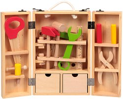 Детски куфар с инструменти - Комплект дървени играчки -