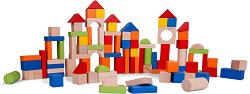 Детски дървен конструктор - 100 части - играчка