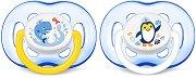 Залъгалки от силикон с ортодонтична форма и специален вентил - Sensitive - Комплект 2 броя за бебета над 18 месеца - залъгалка