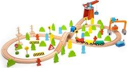 Товарна гара - Дървено влакче с релси и аксесоари -
