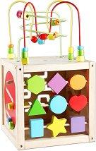 Дидактически дървен куб - Детска образователна играчка - творчески комплект