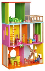 Дървена къща за кукли - Детска играчка с аксесоари -