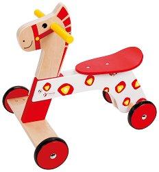 Дървено конче на колелца - Детска играчка за яздене -