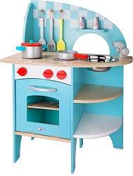 Синя детска кухня - Дървена играчка с аксесоари - играчка