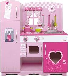 Розова детска кухня - Дървена играчка с аксесоари -