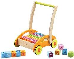 Дървена количка с кубчета - Детска играчка за бутане -