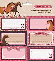 Етикети за тетрадки - Charming Stars - Комплект от 18 броя -