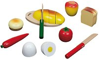 Храна за игра - Детски дървен комплект с ножчета за рязане - играчка