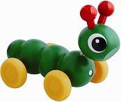 Гъсеница - Дървена играчка за бутане -