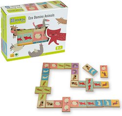 Домино с животни - Детска образователна игра от дърво -