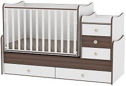Трансформиращо се детско легло - Maxi Plus - Цвят бял и орех -