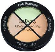 IsaDora Color Correcting Concealer - Палитра с коректори и хайлайтър за скулптуриране на лицето - четка