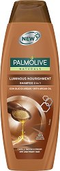"""Palmolive Naturals Luminous Nourishment 2 in 1 Shampoo - Шампоан за суха и къдрава коса с арганово масло от серията """"Naturals"""" - маска"""