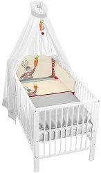 Спален комплект за бебешко креватче - Зайче - 4 части -