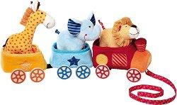 Влакче с животни - Плюшена играчка за дърпане с колела -