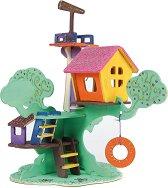 """Къща на дървото - Дървен 3D пъзел за оцветяване от серията """"Mara"""" -"""