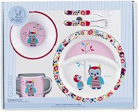 Детски комплект за хранене - Бухалчето Emilie - За бебета над 6 месеца -