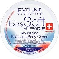 """Eveline Extra Soft Nourishing Face and Body Cream - Подхранващ крем за лице и тяло за чувствителна кожа от серията """"Extra Soft"""" - боя"""