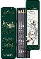 Акварелни графитни моливи - Комплект от 5 броя в метална кутия