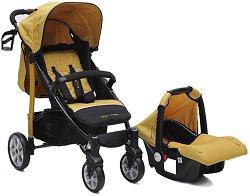 Бебешка количка 2 в 1 - Arrow: Mustard - С 4 колела -