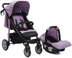 Бебешка количка 2 в 1 - Arrow: Violet - С 4 колела -