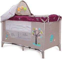 Сгъваемо бебешко легло на две нива - Friend: Purple - Комплект с аксесоари - продукт