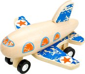 Самолет - Дървена играчка с pull-back механизъм - играчка