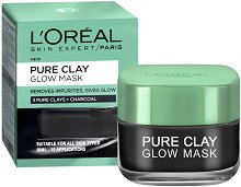"""L'Oreal Pure Clay Glow Mask - Почистваща и озаряваща маска за лице с 3 вида глина и растителен въглен от серията """"Pure Clay"""" - лак"""