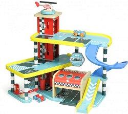 """Гараж на три нива - Дървен комплект от серията """"Vilacity"""" - играчка"""