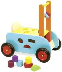 Дървена количка с фигури 3 в 1 - Детска играчка за бутане -