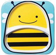 """Чиния за хранене с две отделения - Пчеличка - За бебета над 6 месеца от серията """"Zoo"""" - залъгалка"""