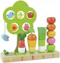 Преброй зеленчуците - Дървена образователна играчка - детска бутилка
