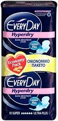 EveryDay Super Ultra Plus Hyperdry - Дамски превръзки с крилца в опаковка от 18 броя -