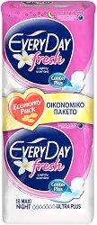 EveryDay Maxi Night Ultra Plus Fresh - Дамски нощни превръзки с крилца в опаковка от 18 броя - спирала