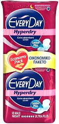 EveryDay Maxi Night Ultra Plus Hyperdry - Дамски нощни превръзки с крилца в опаковка от 18 броя - парфюм