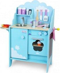 Детска кухня - Blue Sky - Комплект от дърво с аксесоари -