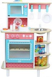 Детска кухня - Комплект от дърво с аксесоари - играчка