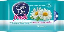 EveryDay Fresh Wipes Aloe and Chamomile - Интимни мокри кърпички с лайка и алое в опаковка от 12 броя - лосион