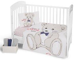 Спален комплект за бебешко креватче - Teddy Bear - 5 части с олекотена завивка -