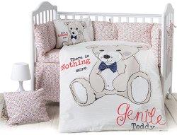 Спален комплект за бебешко креватче - Teddy Bear - 6 части с обиколник -