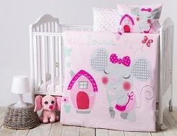 Спален комплект за бебешко креватче - Pink House - 6 части с олекотена завивка и възглавница -