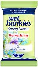 Wet Hankies Spring Flower Refreshing - Мокри кърпички за ръце в опаковка от 15 броя -