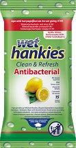 Wet Hankies Clean & Refresh Antibacterial Lemon - Антибактериални мокри кърпички за ръце в опаковки от 15 и 72 броя -