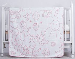 Бебешко одеяло - Drawings: Pink - Размер 90 x 110 cm -