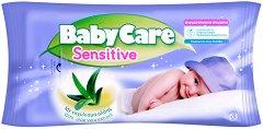 Baby Care Sensitive with Aloe Vera Extract - Бебешки мокри кърпички с екстракт от алое вера в опаковка от 63 броя - лак