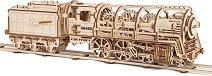 Локомотив с тендер - Механичен 3D пъзел -