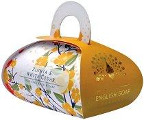 English Soap Company Zinnia & White Cedar Large Bath Soap - Луксозен сапун с масло от ший и аромат на циния и бял кедър -